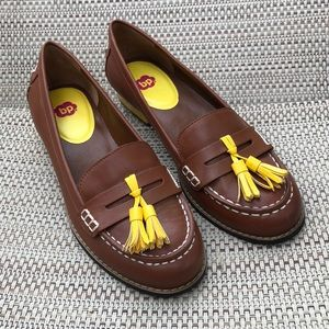 bp Tan/Yellow Tassel Penny Loafers w/ Yellow heel